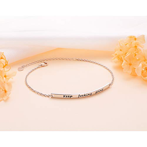 ALPHM S925 Sterling Silver Inspirational Gifts for Women Girl Adjustable Keep Going Bracelet Bangle Engraved Come Men Boy Gift Box by ALPHM (Image #2)