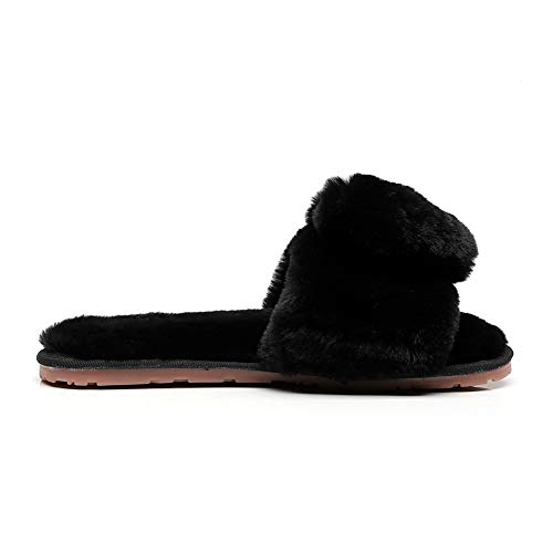 On Shoes Black Slides Slip Women's House Home Heart Flops Fur Slippers Sandals Fluffy Flip Love Fashion ww6Zq7