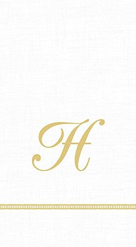 (Caspari 3-Ply Paper Hemstitch Script White Monogram, 15 Count Guest Towel Napkins Letter H)