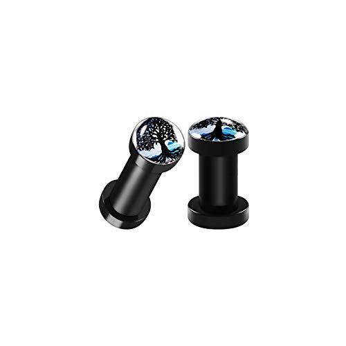 Logo Ear Plug Rings - BIG GAUGES Pair of Black Acrylic 6gauges 4 mm Screw-fit Flesh Plugs Tree of Life Logo Piercing Jewelry Ear Stretcher Earring Lobe BG5671