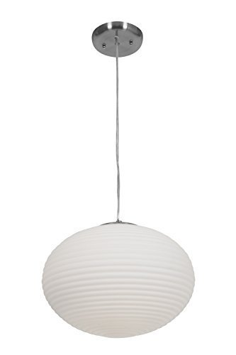 Access Lighting 50180-BS/OPL Callisto Two Light Pendant, Brushed Steel Finish with Opal Glass Shade by Access Lighting