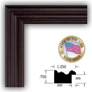 3x5 Dark Cherry Stain Picture Frame 1.25 Wide with Regular Glass and Foam Backing