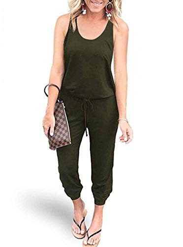 REORIA Women Summer Casual Sleeveless Tank Top Elastic Waist Loose Jumpsuit Rompers with Pockets Army Green Large