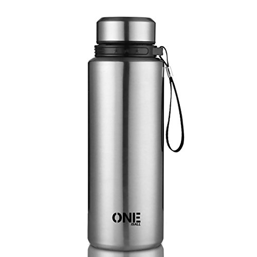 ONEISALL 1 Liter Large Capacity Stainless Steel Tumbler,Travel Coffee Mug Sport Vacuum Flask,Insulation Water Bottle for Outdoor Sport Camping Traveling,Keep Hot Cold Beverage Bottle(Steel)
