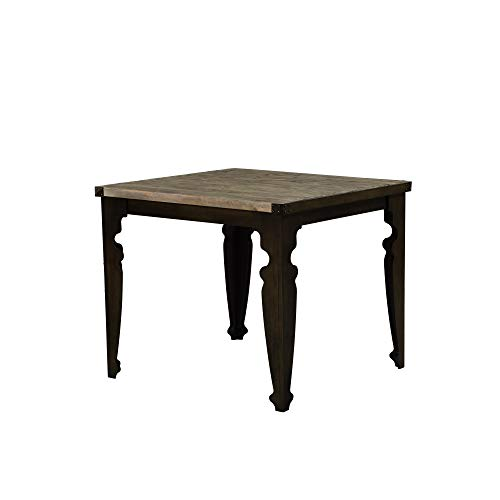 - Verona Square Gathering Height Dining Table in Natural Pine with Plank Style Top And Steel Corner Details, by Artum Hill