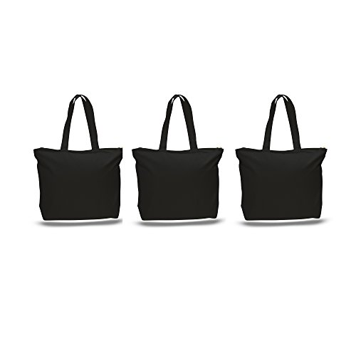 PACK OF 3 Large Heavy Canvas Plain Tote Bags, with Top and Inside Zipper Closure by BagzDepot (Plain Bag)