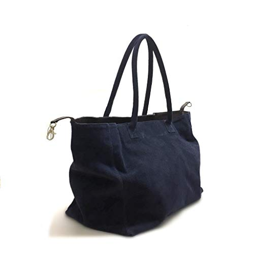 Italy Shopping Vera Made Shoe Morbida Pelle In Gar Borsa Blu Camoscio qxaFwv6E