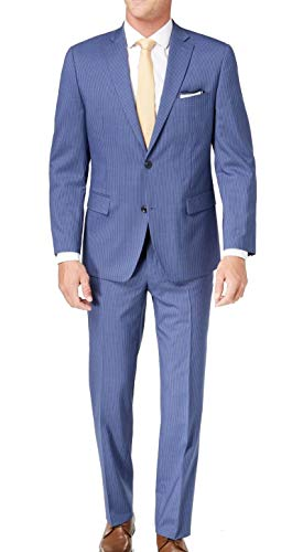 Michael Kors Mens Pinstriped Two Button Wool Suit Blue 42 ()