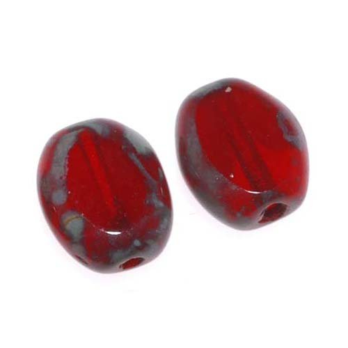 Oval Czech Glass Beads (Czech Glass Table Cut Window Beads 6x8mm Oval - Red Marble W/ Picasso (20))