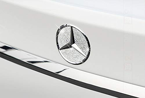 Boobo MBBR01C Ice Out Rear Trunk Badge Bling Insert Emblem with Genuine Austrian Crystal Insert for Mercedes Benz C300 C350 C63 New C-Class W205 (Silver)
