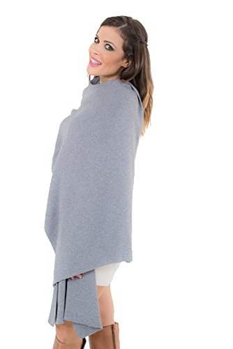 KROWN Cashmere Shawls for Women, Super Soft Lambs Wool Pashmina Shawl for Cold Weather, Extra Large Knitted Cashmere Wraps for Winter, Grey