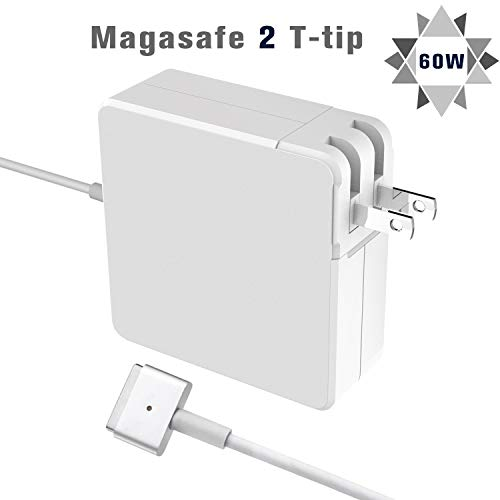 Mac Book Pro Charger (T-Tip) Power Adapter, Replacement for Apple MacBook Pro with 13-inch, Suitable for MacBook Air, Magsafe 2 with Retina Display-After Late 2012 (60W) (Retina 13 Inch Early 2015 Model Number)