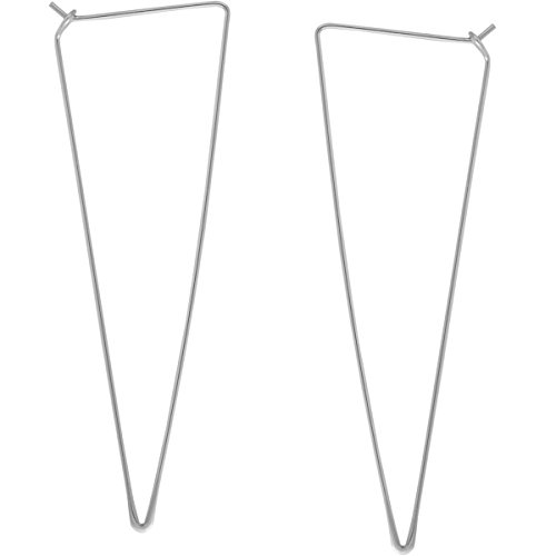 Spike Triangle Threader Hoop Earrings - Long Geometric Arrow Thin Wire Drop Dangles, Triangle 925 White, Sterling Silver-Electroplated, Hypoallergenic, by Humble Chic NY