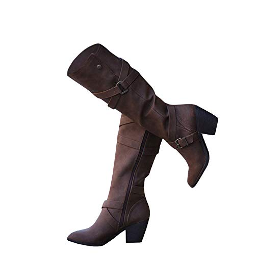 Womens Winter Knee High Boots Riding Chunky Mid Heel Cross Strap Fall Dress Boots Brown