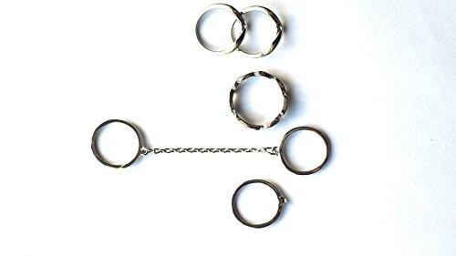 5pcs Stacking Cadena de Midi Charm Hoja Midi Knuckle anillos