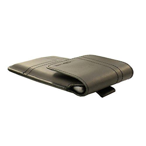 OrLine Holster Vertikal Tasche für Handys Apple Iphone 5 S Gürteltasche und Schlaufe Slim Design Case Echt Ledertasche Hülle Handytasche von OrLine in Schwarz mit Magnetverschluss Handgefertigte