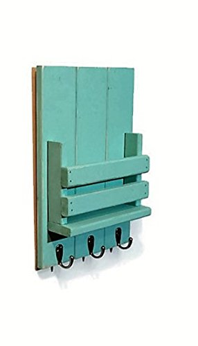 Sydney Slat Front Mail Holder Organizer and Key Holder, Available with up to 3 key hooks and available in 20 different stain colors: Shown in Sea Blue - Mail and Key Holder Wall Mount