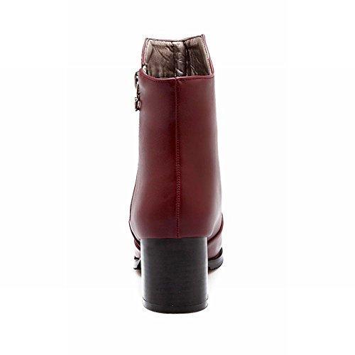 Carolbar Donna Moda Retrò Vintage Cerniera Stile Britannico Grosso Tacco Medio Stivaletti Vino Rosso