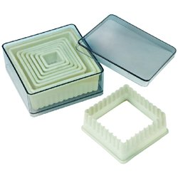 9 piece set acrylic square fluted cutter set, for Cookies, Pastry, Biscuits, Pie Tops, Sugarcraft and Cake decorating