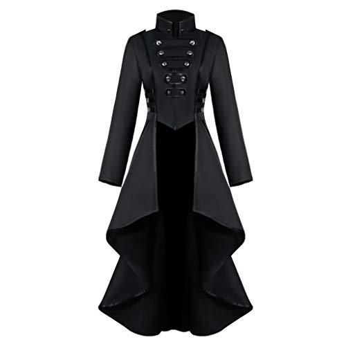 Goddessvan Halloween Costume Women Long Sleeve Gothic Steampunk Jacket Button Lace Corset Coat Black
