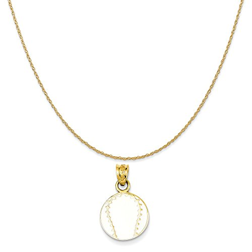 Mireval 14k Yellow Gold Enameled Baseball Pendant on a 14K Yellow Gold Rope Chain Necklace, 20
