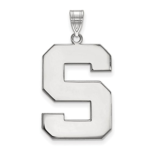 10k White Gold LogoArt Official Licensed Collegiate Michigan State University (MSU) XL Pendant by Logo Art
