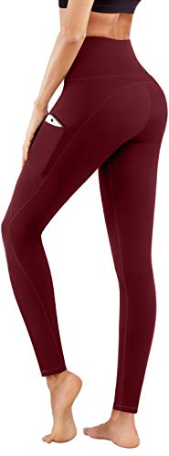 PHISOCKAT High Waist Yoga Pants with Pockets, Tummy Control Yoga Pants for Women, Workout 4 Way Stretch Yoga Leggings (Wine, Large)