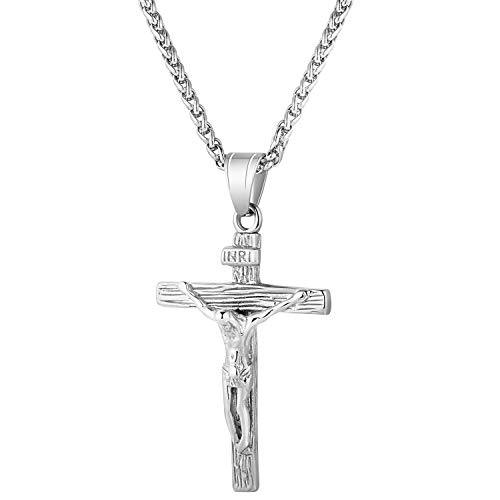 Axmerdal Stainless Steel Antique Cross Crucifix Silver Jesus Pendant Necklace for Men Women (30 inch)