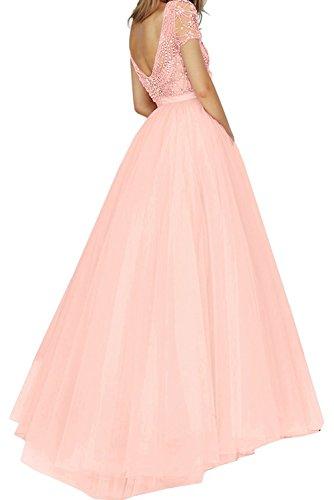 La_mia Braut Elegant Blau Kurzarm Steine Abendkleider Abschlussballkleider Partykleider Abiballkleider Prinzess A-linie Rock Flieder UaVkVqeP
