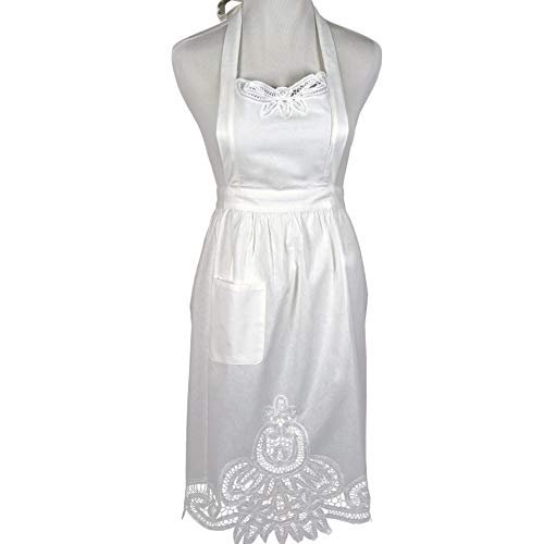 Bumblebee Linens White Lace Victorian Hostess Apron with Pockets Ladies (Victorian Tea Lady)