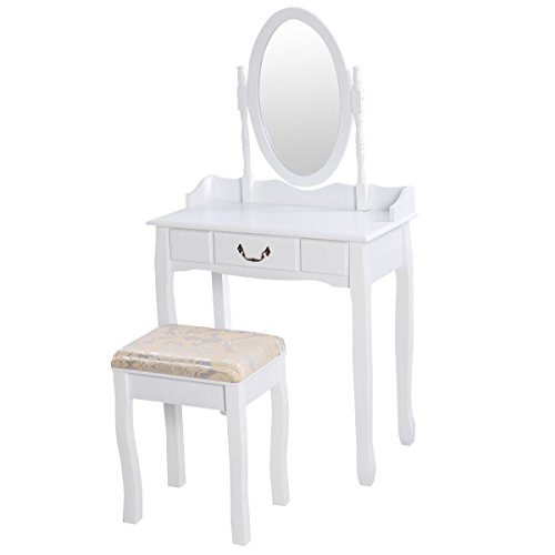 Vanity Table Jewelry Makeup Desk Bench Dresser w/ Stool Drawer White