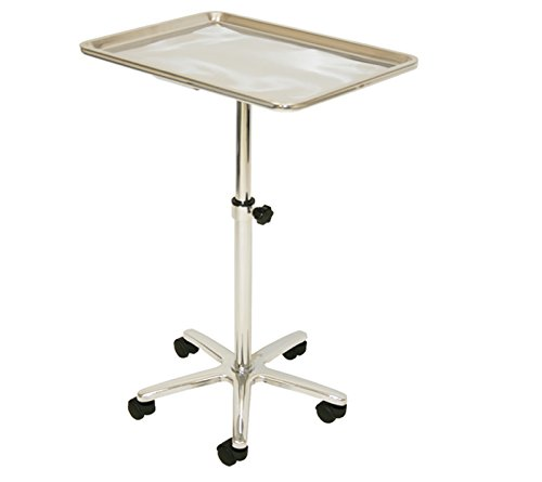 (LCL Beauty Extra Large Stainless Steel Single-Post Mayo Instrument Stand & Work Tray)