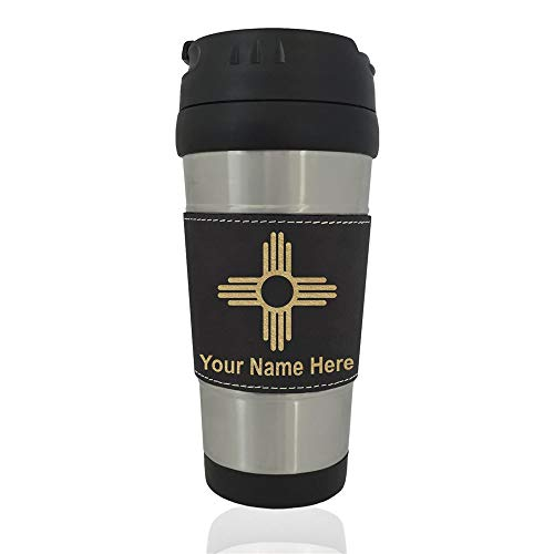 Travel Mug, Flag of New Mexico, Personalized Engraving Included (Black)