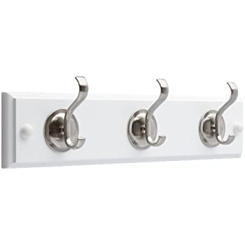 Brainerd 133074 14-Inch Hook Rail/Coat Rack with 3 Coat and Hat Hooks, Flat White and Satin Nickel