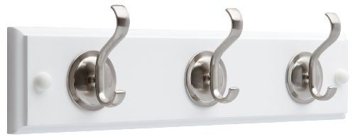 - Brainerd 133074 14-Inch Hook Rail/Coat Rack with 3 Coat and Hat Hooks, Flat White and Satin Nickel