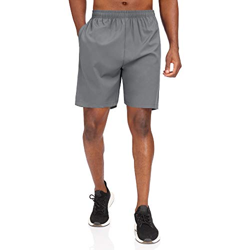 HMIYA Men's Sports Shorts Quick Dry with Zip Pockets for Workout Running Training(Grey, 3XL)