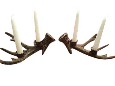 - Set of Cast Iron Antler Candle Holders