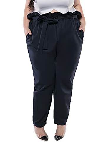 Astra Signature Women's Plus Size Annie Paperbag Waist Pant, Dark Blue, 14 (Relaxed Fit In Los Angeles Dark)