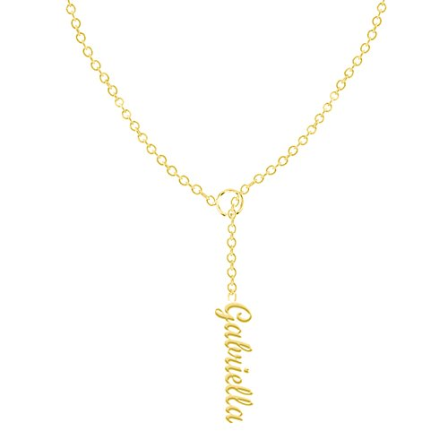 Ouslier 925 Sterling Silver Personalized Vertical Name Necklace Custom Made with Any Names 16