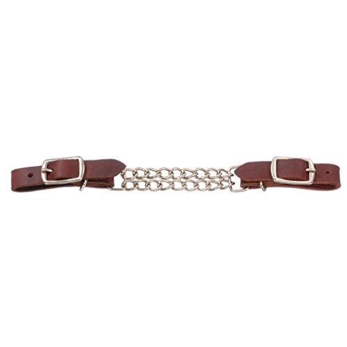 - Royal King Double Chain Leather Curb Chain - Dark Brown