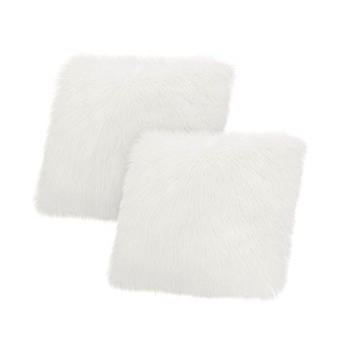 Jean Pierre Faux Fur 2-Piece Decorative Pillow Set, White