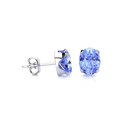 1 1/2 Carat Oval Shape Tanzanite Stud Earrings In Sterling Silver ()