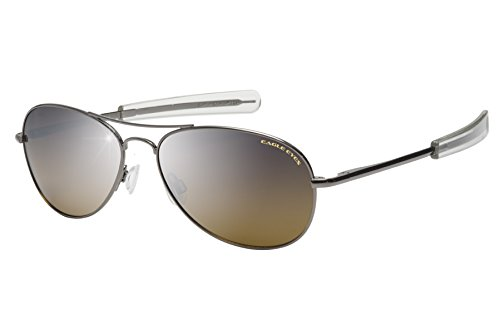 Eagle Eyes FREEDOM Aviator Sunglasses - Polarized Oval Gunmetal Rims with Silver Mirrored Gradient Lenses, - Issued Navy Glasses