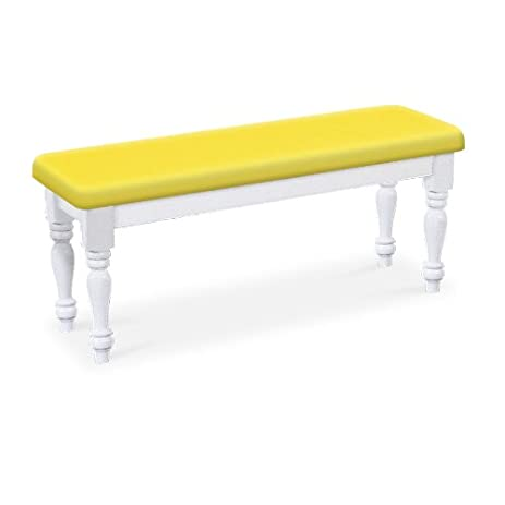 Attractive Wood Country Style White Farmhouse Dining Bench With Yellow Vinyl Cushion