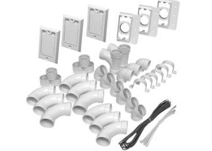 Hayden / Canplas / Vaculine Three Inlet Kit with Low Volt Square Door Valves Central Vacuum Installation Kit - 793317W