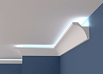Ceiling Lightweight Polystyrene Coving BGS5 COVING LED Uplighting Moulding Home Decor Indirect Lighting Cornice 1, 100mm x 50mm Quality Product 2 Meters Long