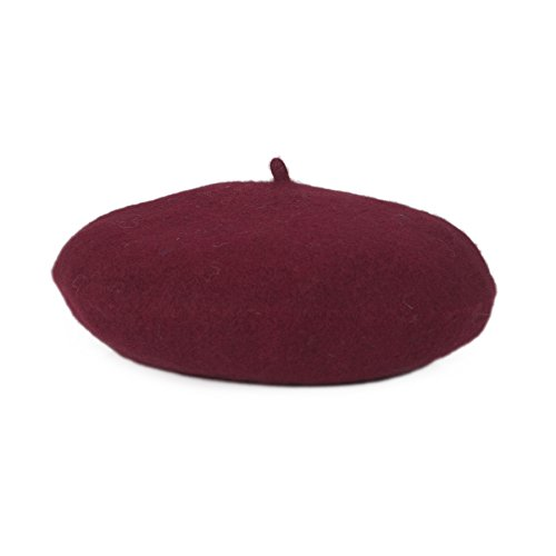Maroon Kids Hat - Opromo Classic Kids' Wool French Warm Beret Girl's artist Hat, 9.5