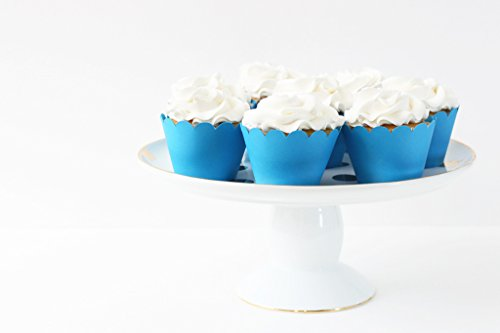 Blue Cupcake Wrappers Aqua Blue Party Supplies Cupcake Liners Baby Shower Decor Nautical Party 4th of July Boy Birthday Party