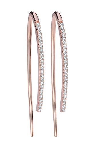 Rose Gold Plated Upside down Arc Curved Open Hoop Drop Earrings for Women and Girls, Pull Through Threader Earrings, Size 30mm