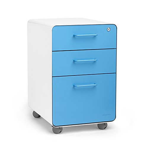 Poppin White + Pool Blue Stow 3-Drawer File Cabinet with Casters, Rolling, Available in 10 Colors, ()